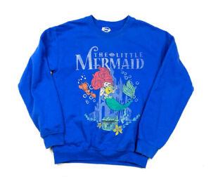 Disney Little Mermaid Royal Blue Pullover Graphic Sweatshirt Men's S
