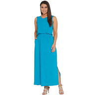 Joan Rivers Regular Length Sleeveless V-Neck Jersey Maxi Dress LIME Size L