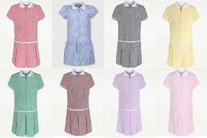 Girls Gingham School Dress Sporty Cut Uniform Checked Ages 3-14