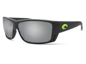 NEW Costa Del Mar CAT CAY Black & Green Logo / 580 Silver Gray Mirror Glass 580G