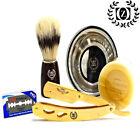 Straight Razor Knife Navaja Barbershop Salon Cutthroat + SOAP MUG BRUSH & BLADES