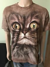 Big Cat Face T Shirt Brown By The Mountain Size Large