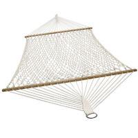 Sunnydaze 2-Person Cotton Spreader Bar Rope Hammock - 450-Pound Weight Capacity