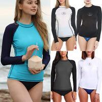Women Long Sleeve Rash Guard UPF50+ Protection Swim Shirt Surfing Swimwear Tops