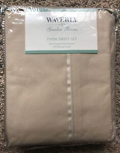 Waverly Garden Room Taupe Twin Set (flat sheet, fitted sheet & pillowcase) NEW