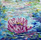 Water Lily Pink Flower Original Oil Painting on Canvas Palette Impasto Textured
