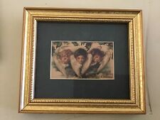Victorian Looking Gold Colored Small Framed Angel Print Christmas