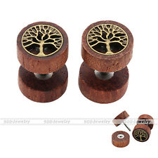 1 Paar Sono holz Fake Piercing Ohr Plug Flesh Tunnel Ohrstecker Ohrring 10mm Neu