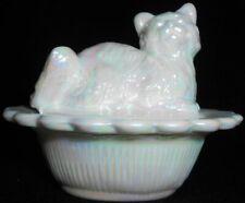White milk carnival glass salt cellar celt dip cat kitten on nest / basket dish