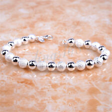 18K White Gold Filled Korean Style Polished/faded 8inch x7mm Beads Bracelet H813