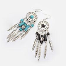 Fashion Jewelry Boho Dreamcatcher Leaf Tassels Drop Dangle Hook Earrings Green