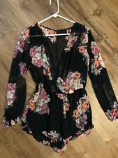 Gi Biu Black Floral Gorgeous Summer Romper Body Suit Medium