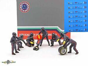 Pit Crew Figurine 7 Pcs Formula 1 Team Dark Blue Decals 1:18 American Diorama