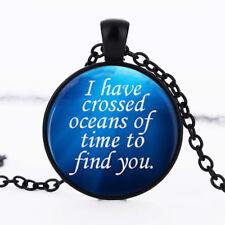 Heart of the Ocean romantic dome Black Cabochon Glass Necklace chain Pendant
