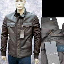 GUCCI New sz 50 - 40 Authentic Designer Brown Leather Web Mens Coat Jacket