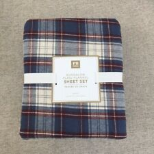 New Pottery Barn Teen Bungalow Plaid Flannel Queen sheet set