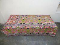 Vintage Kantha Quilt Embroidered Indian Cotton Comforter Blanket Bedding  GD52