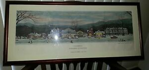 Norman Rockwell Christmas, Stockbridge Main Street, 1967 Large Litho..Framed Ltd