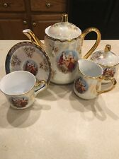 VICTORIAN Couple Tiger Yedi Fine Porcelain Japan Style 17 Piece Tea/coffee Set