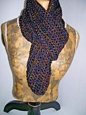 Handmade Crocheted scarf 62' 'x 4''  brown, black, dark purple