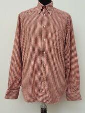 C867 MENS ZARA RED WHITE BROWN CHECK COTTON LONG SLEEVE SHIRT LARGE L 42