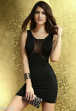 ROBE SOIREE HOT NOIRE CLUBWEAR DISCO COQUINE SEXY GOWN DRESS 38 WOMAN