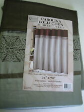 MADINA EMBROIDERD SILVER BROWN FABRIC SHOWER CURTAIN