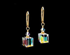 *CKstella*  Crystal AB Cube 14K Gold gf Leverback Earrings w/ Swarovski Upick