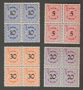 AOP Germany Wurttemberg revenue stamps Stempelmarke 4v blocks of 4 MNH (16)