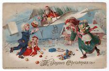 WINSCH CHRISTMAS POSTCARD, SANTA ON BI-PLANE DROPPING PRESENTS, COPYRIGHT 1913.
