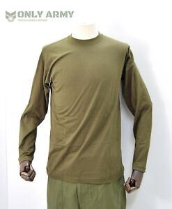 British Army Olive Long Sleeve Top T Shirt Thermal Underwear Base Layer T'shirt