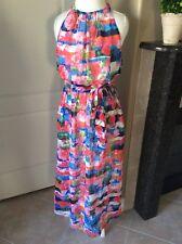 Jessica Simpson Women's Boho Halter Maxi Dress SZ 12 Floral Chiffon Pink Roses