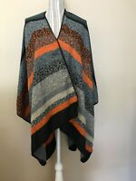 JUST COZY Women's Blanket Rust Blue Gray Poncho shawl knit sweater one size