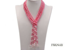 "roae quartz opera necklace jewelry 49"" 3 strand pink oval freshwater pearl and"