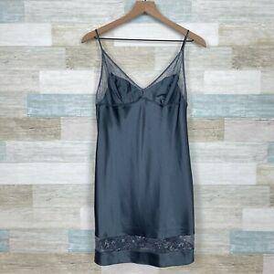 Victorias Secret Lingerie Slip Dress Gray Floral Lace Intimates Womens Medium
