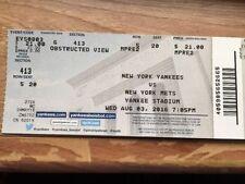 Gary Sanchez 1St Mlb Hit Game Full Unused Season Ticket Stub 8/3/16-Yankees