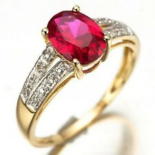 5.0CT Ladies Gift Princess Size 9 Red Ruby Gold Filled Engagement Fashion Ring