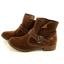 Restricted Brown Leather Suede Ankle Booties Size 7.5 Perforations Buckle Strap