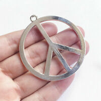 "X LARGE PEACE SIGN SYMBOL LOVE HIPPIE pendant 28"" 925 Sterling Silver Necklace"
