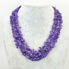 400.00 Cts Natural Untreated 3 Strand Purple Amethyst Beads Necklace NK 65E36