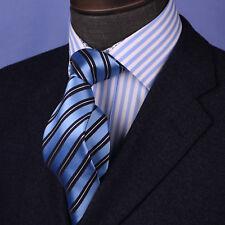 Stylish Blue Striped Necktie Classic Width Fit 8cm Tie Woven Luxury 3.15 Wide GQ