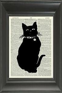 ORIGINAL - Black Cat Vintage Dictionary Art Print - Wall Hanging Book Art N.514D