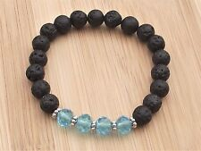 "Crystal Elements & Volcanic Lava Diffuser Semi Precious 7.25"" Stretchy Bracelet"