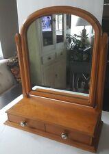 Antique Wood Tabletop Vanity Dresser Shaving / Makeup Swivel Mirror w/ Drawers