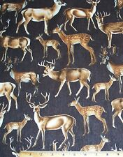 Deer Wildlife Buck Doe Fawn Fabric by the Yard Timeless Treasures 100% Cotton