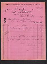 """PARIS (XI°) USINE de POTERIE d'ETAIN ,ROBINETTERIE & ECLAIRAGE """"J. ROUSSEL"""" 1937"""