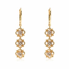 Crystal Yellow Gold Plated Cubic Zirconia Fashion Earrings