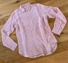 Orlebar Brown Mens Morton Classic Long Sleeved Raspberry Linen Shirt Size M New