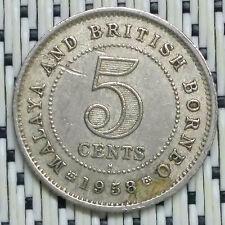 1958H - Malaya - 5 Cents Elizabeth II #CCCL