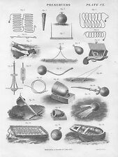 1822 Life Preservers Flair Pistol Luminous Ball etc. Genuine Antique Print